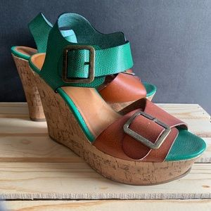 Green and Brown Wedges Sz 8.5